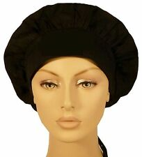 SURGICAL SCRUB HAT THEATRE CAP BLACK BANDED BOUFFANT