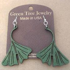 GINKGO LEAF Green Tree Jewelry laser-cut wood earrings KELLY GREEN 1100 leaves