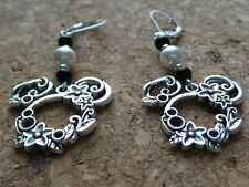 Alloy Mickey Mouse Silver Long Drop Dangle Earrings with Black White Glass Beads