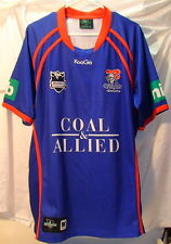 Newcastle Knight NRL KooGa Authentics Blue Embroidered Rugby Jersey Mens Sz XXL