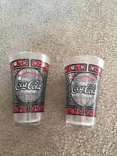 Awesome vintage Coca-Cola Coke stained glass look glasses set of 2 floral leaves
