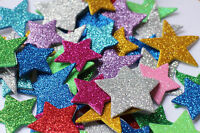 EVA Foam GLITTER STARS,Self Adhesive Foam Shapes Craft Star Assorted Colours 50