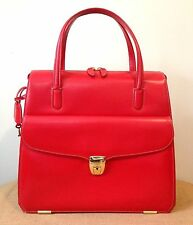 RARE Authentic Nazareno Gabrielli Red Leather Lock & Key Zipper Handbag