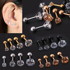 1/2pcs CZ Prong Tragus Cartilage Piercing Stud Earring Ear Ring Stainless Steel