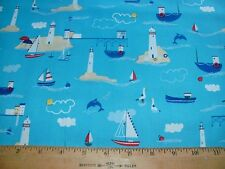 Nautical Quilt Fabric Lighthouses Light Houses Dolphins Boats Birds on Blue BTY