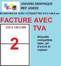 50 planches de 2 étiquettes autocollantes  a5 210 x 148.5 mm 100 etiquettes
