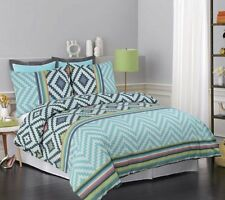 APARTMENTO CISCO White Aqua Green charcoal Double Size Doona Quilt Cover Set