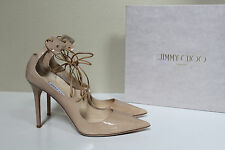 sz 12 / 42 Jimmy Choo Vita Nude Patent Leather Classic Pointed Toe Pump Shoes
