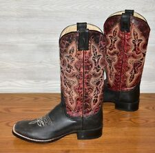 MEN'S BRAND NEW STETSON 2 TONE RED BLACK LEATHER COWBOY WESTERN BOOTS SIZE 9.5 D