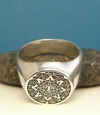 925 Sterling Silver RING Mens Man Aztec TRIBAL Sun MAYAN Signet S MEXICO US New