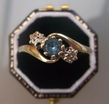 Women's Vintage 9ct Gold 'Aquamarine & Diamond Ring Size R 1/2 Weight 2.2g