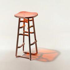 Birch Plywood and Orange Perspex Bar Stool, One of a Kind Prototype