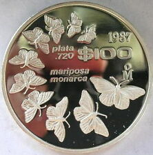 Mexico 1987 Monarch Butterfly 100 Pesos Silver Coin,Proof