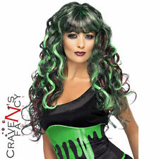 Blood Drip Siren Wig Black and Green Ladies Long Curly Wig Halloween Fancy Dress