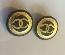 CHANEL Logo Black Enamel Gold Tone Jumbo Earrings Clip-On. (missing A Clip).