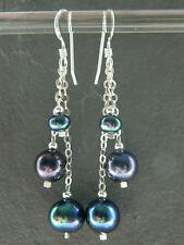 Peacock Black Freshwater Pearls & Sterling Silver Handmade Long Drop Earrings