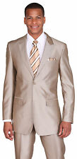 Men's 2 piece Slim Fit Wool Feel 2 Button Suit with Pants Silver Tan 57021B