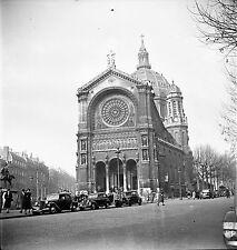 PARIS c. 1938 - Autos Église Saint-Augustin - Négatif 6 x 6 - N6 P134