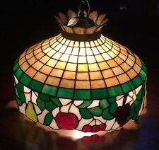 Vintage Tiffany Stained Glass Style Fruit Chandelier