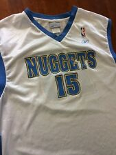 MENS DENVER NUGGETS CARMELO ANTHONY JERSEY BY REEBOK XL SCREEN PRINT WHITE