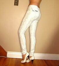 Seven 7 For All Mankind $198 Skinny Silver Snake Metallic Brocade White Jeans 28