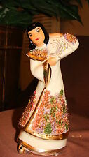 CHINESE PORCELAIN DANCING FIGURINE GOLD TRIM CREAM COLORED DRESS