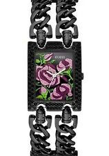 New Authentic GUESS W0072L2 Ladies Rose face black stainless Multi-Chains Watch