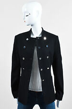The Row Black Wool Ribbed Front Button Jacket SZ 8