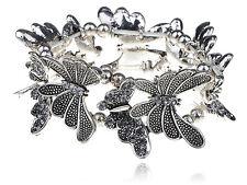Silver tune Shine Sapphire Crystal Rhinestune Butterfly Bracelet Bangle Cuff