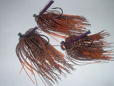 Custom Weedless Football Jig Lot Of 3 Blk/Org Rusty Craw 3/8 oz Living Rubber