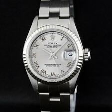 Rolex SS Silver Roman With Square Track Oyster Band DateJust Ladies W... Lot 758
