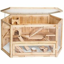 Petrum Large Wooden Rodent Hamster Cage - Three levels & Accessories