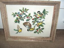 Vintage Needlepoint Framed Picture Yellow Birds Holly Berries Leaves NICE