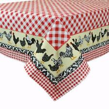 "Classic Red White Gingham Check Cotton 60"" x 84"" Tablecloth with CHICKENS Border"
