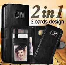 Samsung Galaxy S7 edge leather wallet case with detachable magnetic phone holder