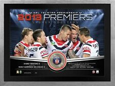 SYDNEY ROOSTERS 2013 FRAMED PREMIERSHIP LIMITED EDITION MEDALLION PRINT
