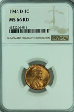 1944 D LINCOLN CENT! NGC MS66 RD! RED! 1C! WHEAT PENNY! US COIN LOT #2601
