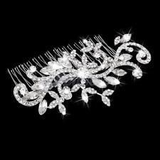 Bridal Wedding Crystal Rhinestone Diamante Leaf Flower Hair Comb Clip Tiara