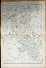 1891 LARGE VICTORIAN COUNTY MAP - BUCKINGHAMSHIRE CHESHAM AYLESBURY OLNEY