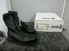 ADDISON MEN BOOT BLACK SAFETY SHOE STEELTOE SIZE 4.5 4 1/2 XW WIDE WORK NEW