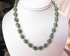Vintage Green Tone Thermoset Beaded Choker  Necklace