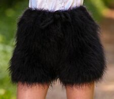 BLACK Hand Knitted Mohair Pants Fuzzy Underwear Handmade Shorts SUPERTANYA S M L