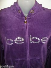 Bebe S Jacket Rhinestone Crystal Logo Dark Purple Hoodie Velour Track Yoga Gym