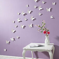 3D Mariposa Pegatinas De Pared Arte Decoración Mariposa Blanco 15PC 413q