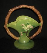 Orig. Roseville Matte Green Apple Blossom Basket, Twig Handle, 309-8