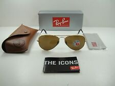 RAY-BAN AVIATOR POLARIZED SUNGLASSES RB3025 001/57 GOLD FRAME/BROWN LENS, 62MM