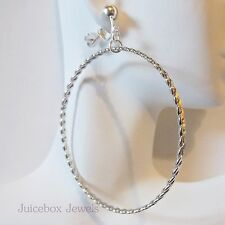 "CLIP ON  2 - 3/4"" SILVER TONE Large/Big Textured Hoop Non-Pierced Earrings B16"