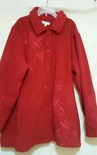 SUSAN GRAVER Women's Red Long Fleece Jacket XL EUC!