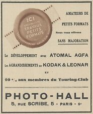 Z9900 PHOTO-HALL - Agfa- Kodak - Atomal -  Pubblicità d'epoca - 1937 Old advert