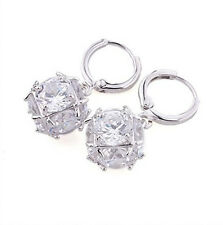 Amazing Platinum Plated White Crystal Magic Cube Balls Drop Earrings E334
